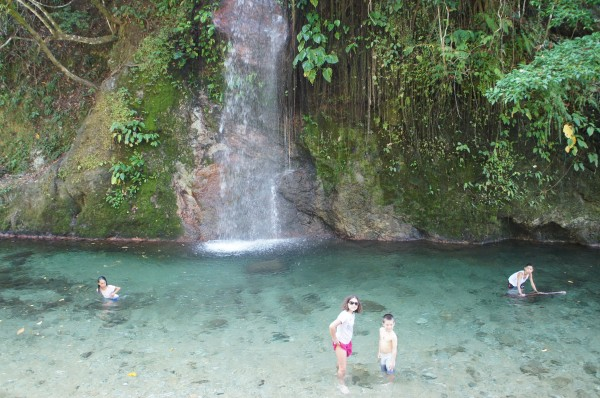 """Our """"city tour"""" took us to Cunayan Falls. The kids were a bit disappointed that they didn't have their swimsuits, but we told them they could swim in their clothes like the locals and that made them happy"""