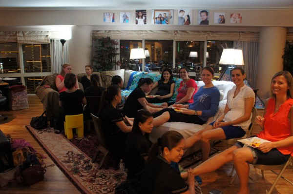 """And I threw a """"Pamper Me"""" Party at our condo and had some friends over and each person had their own massage therapist for an hour"""