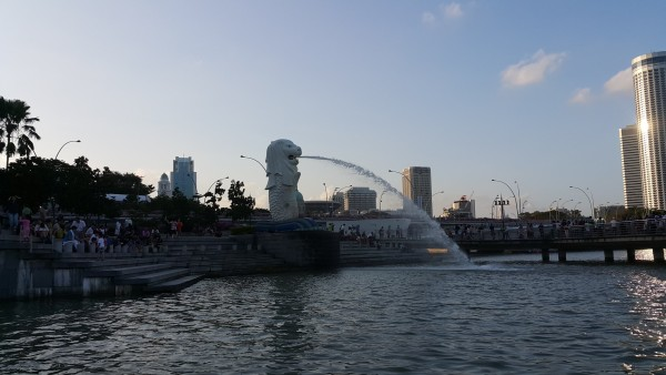 View of the Merlion of Singapore that we saw on from the ferry boat