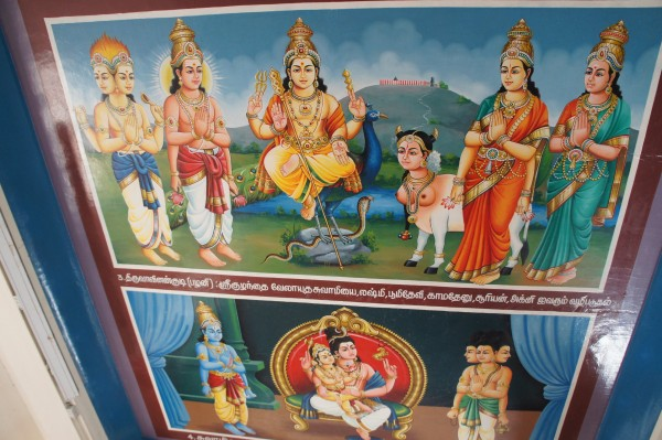 The ceiling inside Sri Mariamman Temple is full of paintings