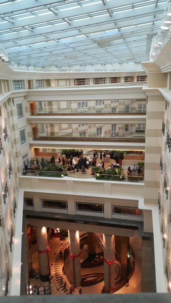 Inside the Fullerton where we stayed and had this amazing view while going to the elevators