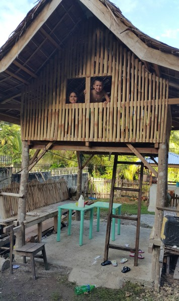 """While hanging out with family, the kids played in this """"tree house"""" that was built for our 5 year old cousin."""