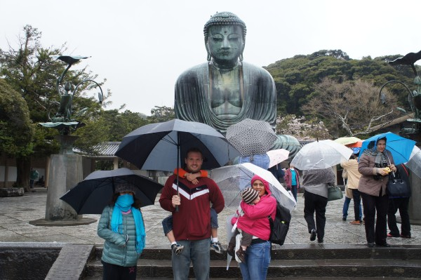 """It is rainy and cold, but we made it to see The Great Buddha """"Kamakura"""" which is 13.4 meters high including pedestal."""