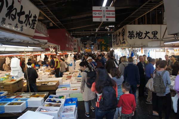 Our first stop was to Tsukiji fish market.  This market has been open since 1935, but will be moving to the other side of the river soon.