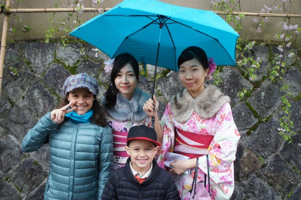 We saw a bunch of ladies dressed in kimonos and got a photo with them. Come to find out that you can pay to wear a kimono and visit tourist places and get a discount for wearing a kimono. Plus many people ask to take a photo of you dressed up!