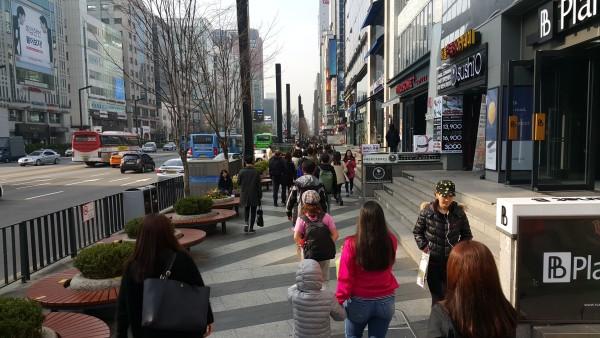 We walked around the street of Gangnam.