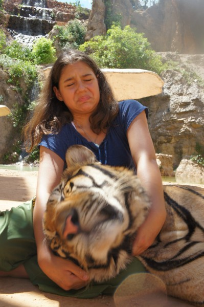 """Kalani got disgusted with how sweaty and """"stinky"""" this tiger was while she held the head."""