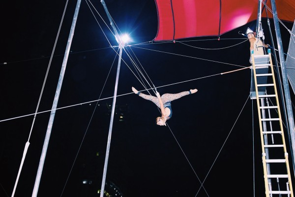 We tried out the trapeze and my cousin was really good at it.