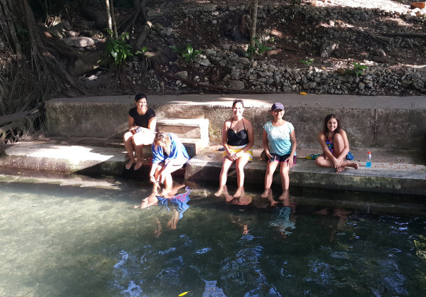 """We took our family to the famous Balete Tree and they were able to experience a """"fish spa""""."""