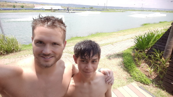 Matt took my youngest brother out to do wakeboarding one morning.