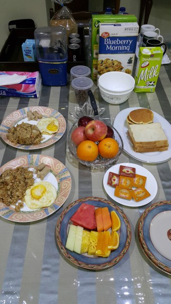 Breakfast that was on the table waiting for us when we would awake.