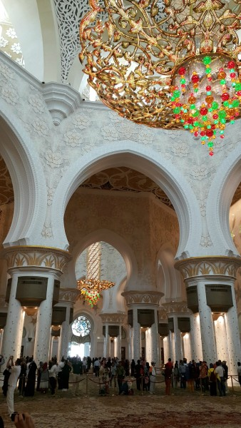 Amazing chandeliers are inside the Grand Mosque.