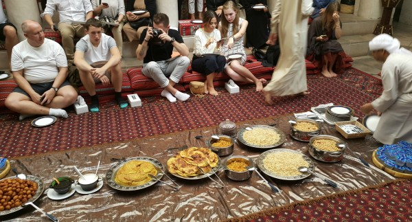 Culture breakfast. We ate the traditional food that Emerati families would eat and then we were able to ask any question to our hosts about the country, culture, or anything else on our mind. Yummy food, very informative and fun.