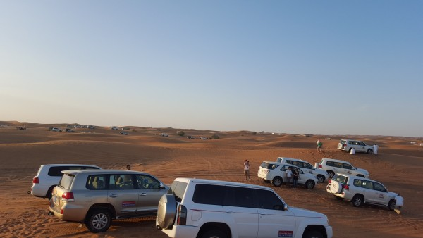 """There were so many cars there to do """"dune bashing."""" It is like a roller coaster ride in the car and air is let out of the tires for this experience."""