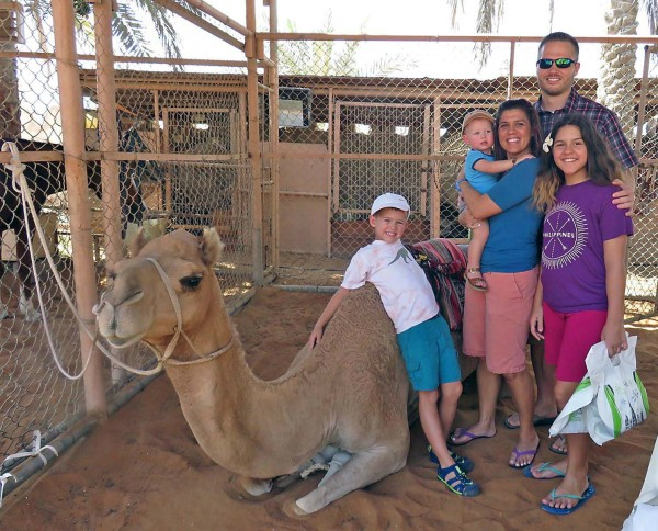 Our first time seeing a camel up close. Mason was very comfortable being around it.