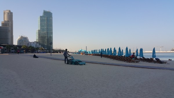 """We woke up early and went to the JBR beach where they """"mow"""" the sand. We spent a couple of hours there playing in the water and enjoying the company of friends."""