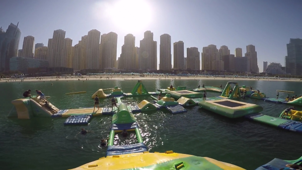 We spent a couple of hours playing on these inflatables in water and enjoying the company of friends.