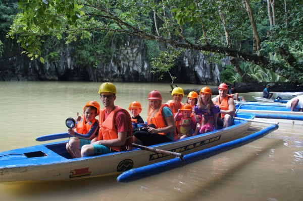 Our group is ready to enter the caves of the Underground River.