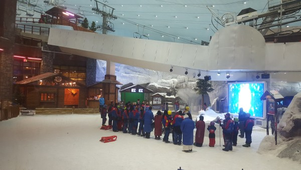 We left the kids with our friends and Matt and I had another date night at the Mall of the Emirates. Matt tried snow boarding, and I watched the penguin show sinec I have only tried skiing once in the fourth grade and that wasn't a fun experience.