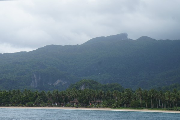 """On the boat ride to the Underground River we could see the """"Sleeping Giant"""" in the mountain."""