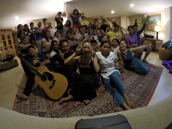 Wacky photo with everyone who was participating in our Christmas celebration...family members, missionaries, and resort staff.