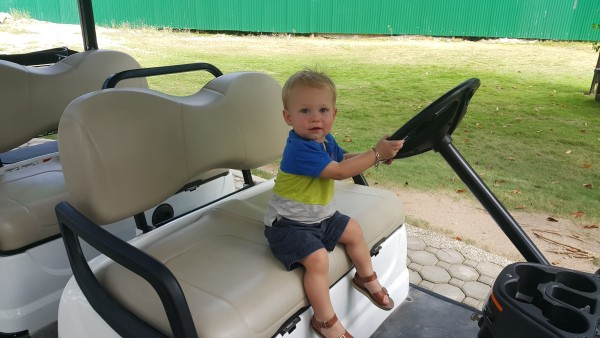 """Blake liked the golf carts that we came across often and had to sit in them and """"drive"""" for a while."""