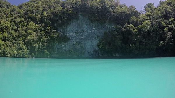 """Our last stop on the boat was to a place called """"The Milky Way"""". The water is a gorgeous milky blue color because of the limestone sediment that has settled on the floor of the water cove."""
