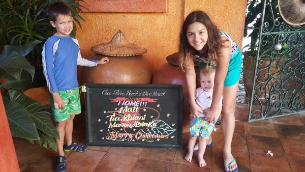 Our flight was delayed leaving Manila so we didn't get to see our Welcome sign until the next day. Being at Coco Grove Beach Resort really does feel like we are coming home.