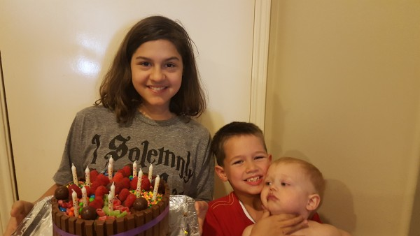 Kalani made her own birthday cake. It was devoured quickly and Blake always knew where it was at.