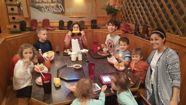 Kalani's birthday dinner at Valley Ranch. This was the kid's table.