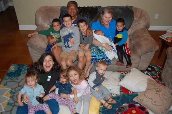 Grandparents with 10 of their 15 grandchildren.
