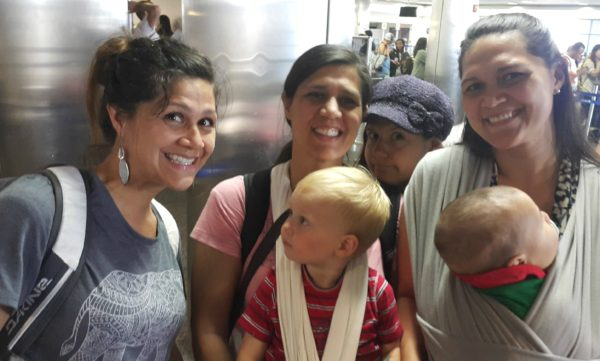 My sisters and our family boarded a plane and headed back home after a fun weekend.
