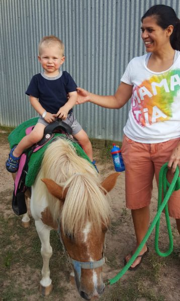 Blake was pretty happy with himself for riding a horse. He rode a second time while I was riding a horse as well.