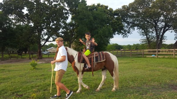 Mason rode a couple of different horses and loved having Casey lead him around.