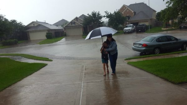 It rained a lot in Texas and caused a lot of flooding. Luckily we stayed safe.