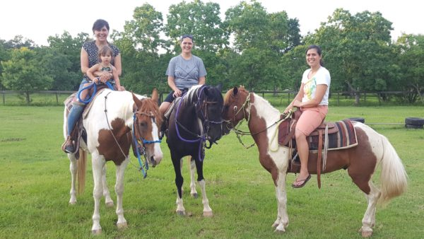 My sister arranged to have us eat dinner at her home and then drive to her friend's home and ride their horses. After all of the kids had a chance to ride the horses, the mommas also got a turn.