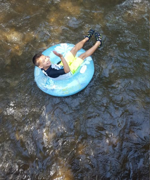 The kids enjoyed tubing down the river even if the water was really cold and only about 15 inches deep.
